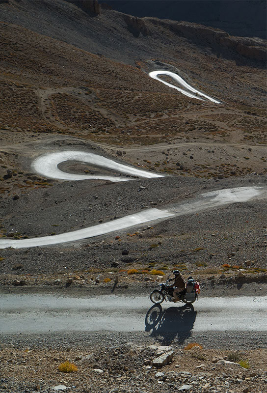Gerry Moffat Driving up Bara La Cha Pass Ladakh on motorcycle