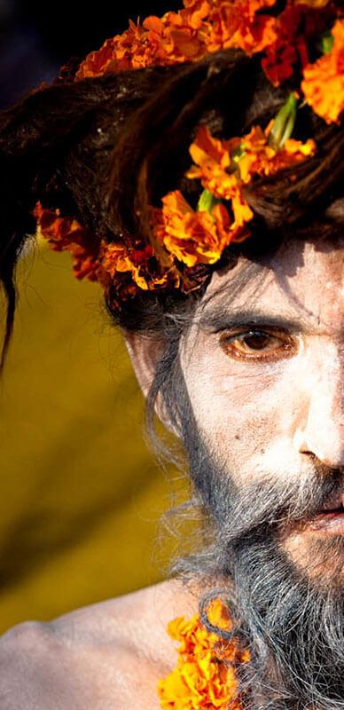 Man in cultural headdress